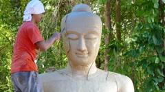 Make mold face Buddha Stock Footage