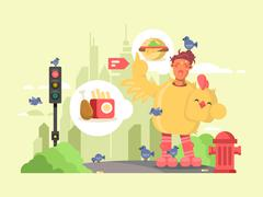Man in chicken suit Stock Illustration