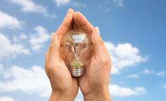close up of hands holding edison lamp or lightbulb - stock photo