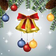 Bell merry christmas celebration design Stock Illustration