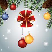 merry christmas celebration design - stock illustration