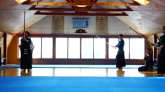 Overall plan. Kendo Master warming up before the fight. Stock Footage