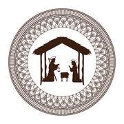 Joseph mary holy family christmas design Stock Illustration