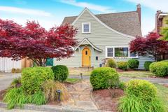 Classic American house exterior with nice landscape desing. Curb appeal. Nort Stock Photos