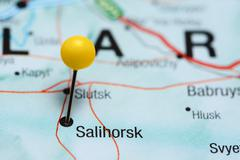 Salihorsk pinned on a map of Belarus - stock photo