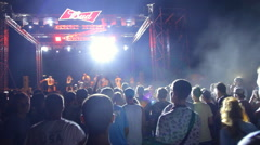 On the Stage is a Group of Musicians Stock Footage