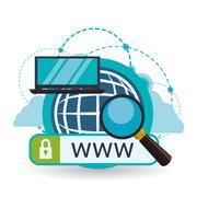 Cloud computing design. Media icon. Isolated illustration Stock Illustration
