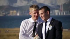 Groom and his friend Stock Footage