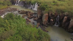 South Africa aerial view at waterfall landscape Stock Footage