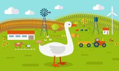 Goose on Farmyard Concept Illustration Piirros