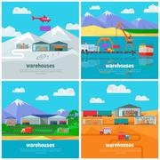 Worldwide Warehouse. Logistics containers shipping Stock Illustration