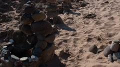 Zen Garden stones in beach Stock Footage