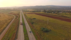 South Africa the road through the Savannah aerial view Stock Footage