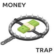 Money trap. Vector flat illustration Piirros