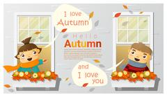 Hello autumn background with little boy and girl Stock Illustration
