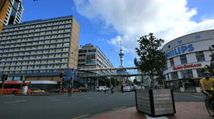 New Zealand Auckland Sky Tower and pedestrian Stock Footage