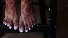 Henna Tattoo on Female Feet Stock Footage