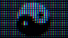 Extreme Close-up of Pixels of LCD IPS Monitor Matrix. Ying Yang Symbol. Stock Footage