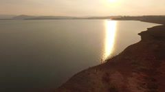 Aerial view of water trail of the sun  South Africa Stock Footage