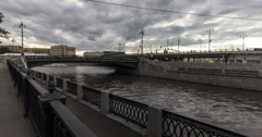 Quay of Yauza river  in point of flows into Moscow river time lapse Stock Footage