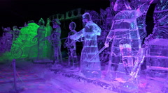 Ice sculptures with multicolored lights Stock Footage