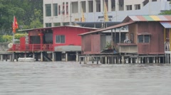 Jetty with stilt houses,Penang,Malaysia Stock Footage