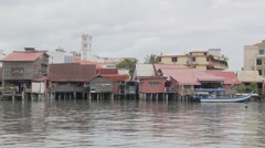 Stilt houses in jetty,Penang,Malaysia Stock Footage