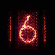Nixie tube indicator of the numbers retro style. Digit 6 Stock Photos