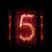 Nixie tube indicator of the numbers retro style. Digit 5 Stock Photos