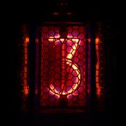 Nixie tube indicator of the numbers retro style. Digit 3 Stock Photos