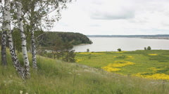River view from the hill. Riverbed. Blooming meadow Stock Footage