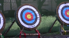 The arrow released from the bow hits the target. Stock Footage