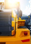 Excavator cabin and bucket. construction equipment clean new Stock Photos