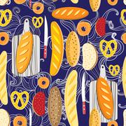 Pattern of different bread Stock Illustration