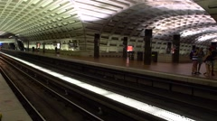 Underground train station in Washington DC Stock Footage