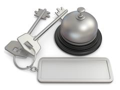 Hotel key with rectangular blank label on ring and reception bell. 3D - stock illustration