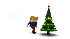 Cartoon man character turn on the lights on Christmas tree. Stock Footage