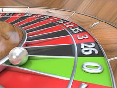 Macro view of a roulette table. Green zero. 3D Stock Illustration