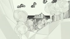Cartoon Manga comics style Black and white low poly world flying Stock Footage
