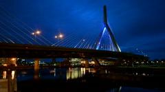 The Leonard P. Zakim Bunker Hill Memorial Bridge in Boston, USA. Stock Footage