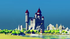 Dragons flying around medieval castle. River bay with lighthouse. Stock Footage