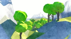 Cartoon low poly world flying through Intro Forest House Lighthouse Castle  Stock Footage