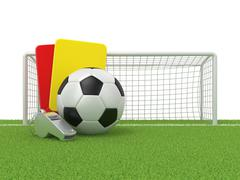 Football concept. Penalty (red and yellow) card, metal whistle and soccer (fo Stock Illustration