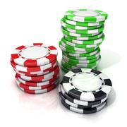 Stacks of red, green and black gambling chips Stock Illustration