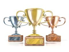 Gold, silver and bronze winners trophy cups. 3D Stock Illustration
