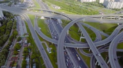 Cars, traffic on highway, freeway, road  intersection, aerial view. - stock footage