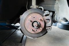 Rusty Front Car Wheel Hub with Disk Brake System Stock Photos