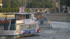 People relax on a pleasure boat Stock Footage