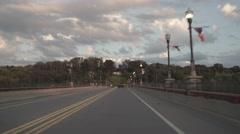 Leaving Owego, New York over Court Street Brigde Stock Footage