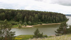 River view from the hill. Nature of Siberia Stock Footage